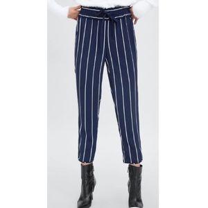 NWT Zara Navy Striped Drawstring Paperbag Pants